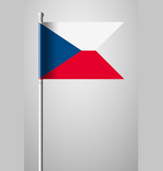 flag of czech republic national flag on flagpole vector image