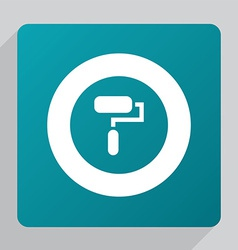 Flat paint roller icon vector