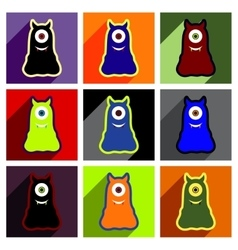 Flat with shadow concept Icon cyclops monsters on vector