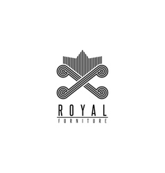 Furniture logo chair monogram form throne back vector image