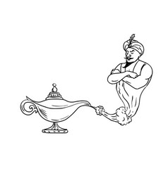 genie coming out of oil lamp black and white vector image