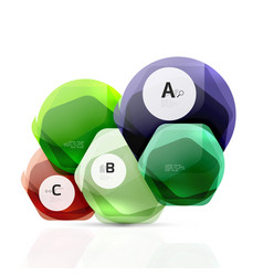 Glass glossy shiny hexagon web elements vector