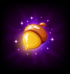 golden acorn game icon on black background vector image