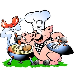 Hand-drawn of an Chef Pig standing and making BBQ vector