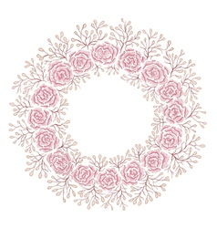 Hand drawn rose frame vector image