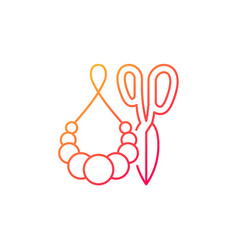 Handmade pom pom jewelry gradient linear icon vector