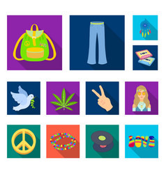 Happy and attribute flat icons in set collection vector
