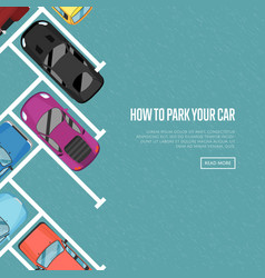 how to park your car poster in flat style vector image