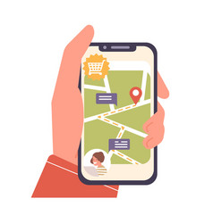 human cartoon hand holding smartphone with map and vector image