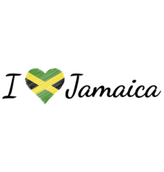 i love country jamaica text heart doodle vector image