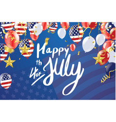 Inscription happy independence day on usa flag vector