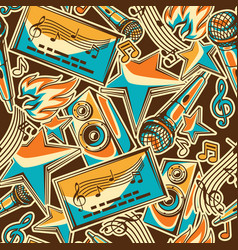 Karaoke party seamless pattern music event vector