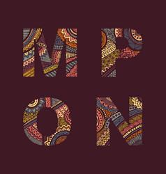 Letters set m-p vector