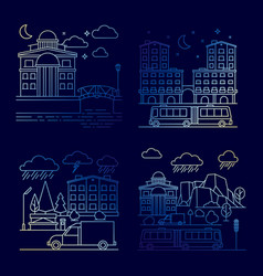 line night city landscape banners set vector image