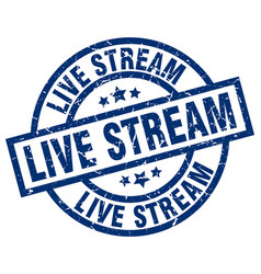 Live stream blue round grunge stamp vector