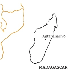 Madagascar hand-drawn sketch map vector