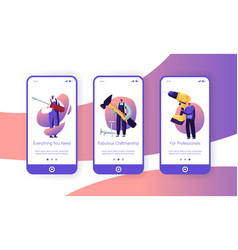 Male characters with tools mobile app page onboard vector