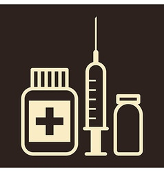Medicine ampoule and syringe icon vector
