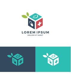 Medicine care box cube subscription leaf logo vector