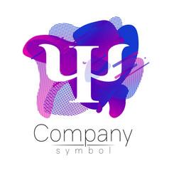 Modern logo of psychology letter psi fluid style vector