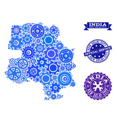 Mosaic map of new delhi city with gear wheels and vector