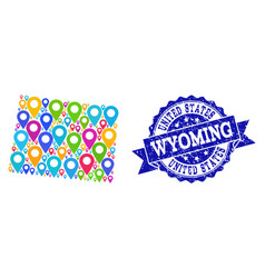Mosaic map of wyoming state with map markers and vector