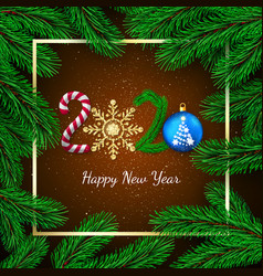 new year 2020 greeting card with 2020 lettering vector image