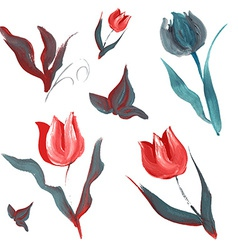 Oil painted flowers set vector