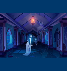 Old castle hall with ghosts dark scary palace room vector