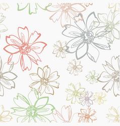 Pastel pink flower seamless bright pattern vector