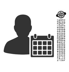 Patient calendar icon with job bonus vector
