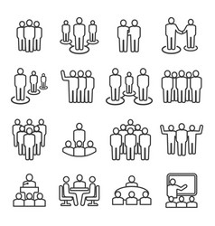 people team line icon set vector image