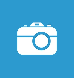 Photo camera icon white on the blue background vector