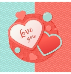 Pink and blue paper hearts with patternred circle vector image