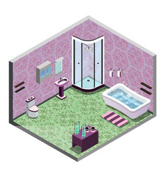 pink pastel color bathroom isometric interior view vector image