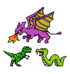 pixel art 8 bit objects dinosaur snake dragon vector image