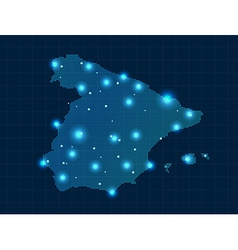 pixel Spain map with spot lights vector image