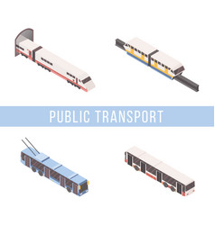 Public transport isometric banner template vector