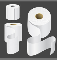 Realistic paper roll mock up set isolated vector