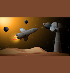 Rocket in space scene vector