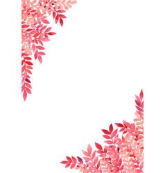 Romantic red fern watercolor border for autumn vector