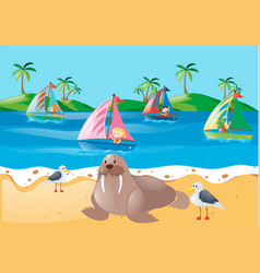 Scene with kids sailing and animals on beach vector