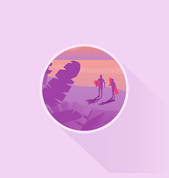 Scenery icon or badge design with two surfers vector