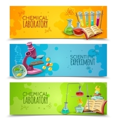 Scientific Chemical Laboratory Flat Banners Set vector