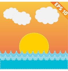 Sea Landscape with stitch style background - vector image