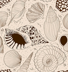 Seamless pattern of seashells vector