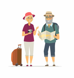 Senior tourists - cartoon people character vector