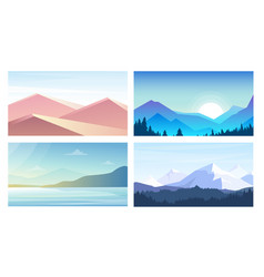 Set of banners with landscapes vector