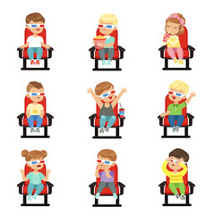 set of cute little kids in 3d-glasses vector image