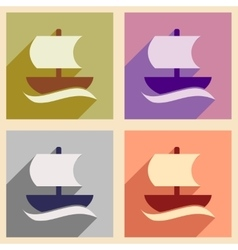 Set of flat web icons with long shadow sailing vector